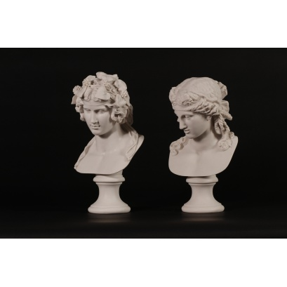 Dionysus and Companion Pair Marble Bust Sculptures