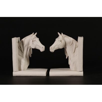 Horse Head Marble Book Ends Sculptures