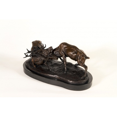 Rutting Stags Bronze Sculpture