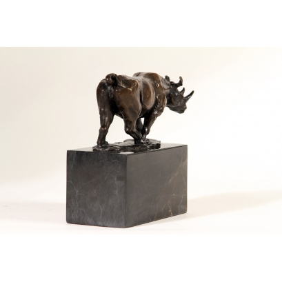 Rhino on Marble Plinth Bronze Sculpture