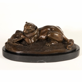 Tiger Devouring a Gavial Crocodile Bronze Sculpture