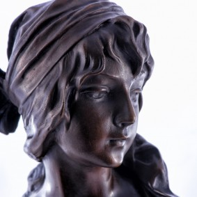 Bronze bust of a Girl with scarf