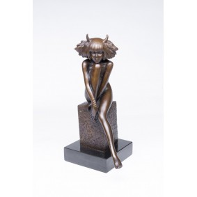 Erotic bronze Devil Girl Sculpture