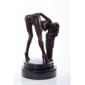 Erotic bronze sculpture of a nude woman bent over a column.